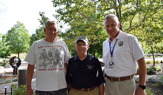 Photo of three Lake Health Veterans Volunteers Outside of TriPoint Medical Center