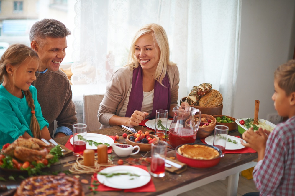 Family Eating Holiday Meal Photo
