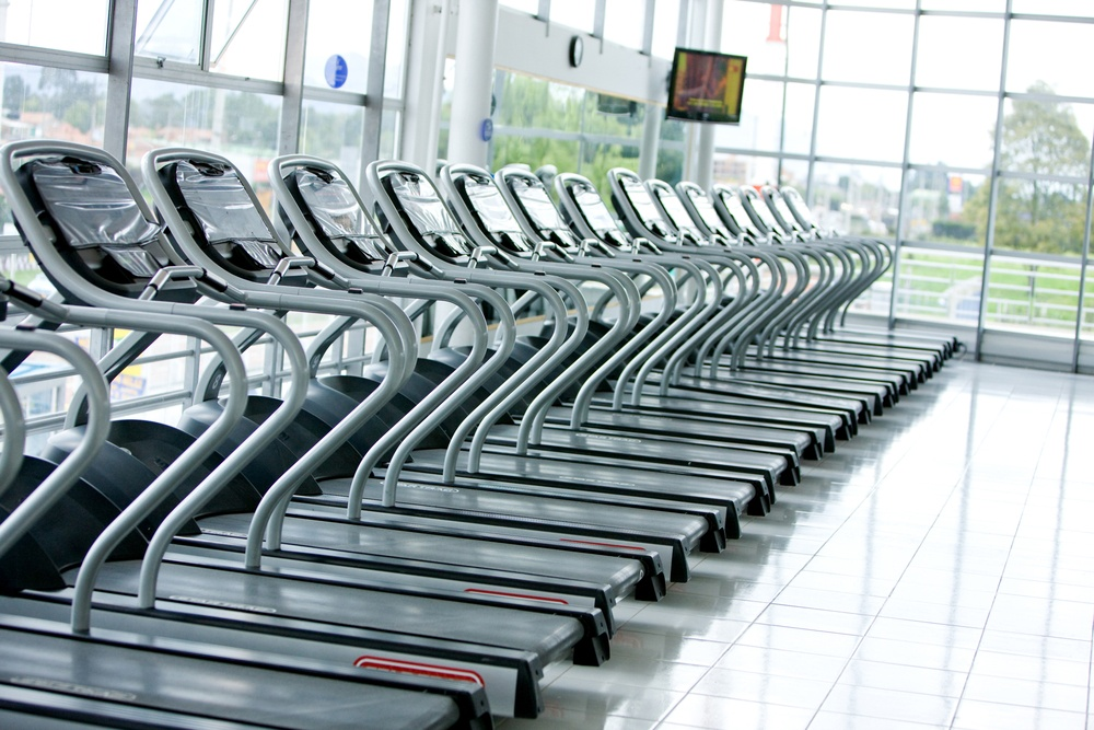 Series of treadmills in a row in the gym