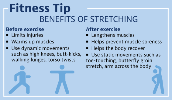 Fitness tips about the benefits of stretching.